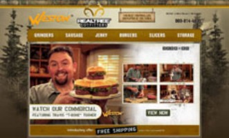 website homepage with dude and food